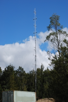 Picture showing the Shipping Container Flight Brothers T9255 Tower RFI BA40 VHF Antenna Array and link antennas